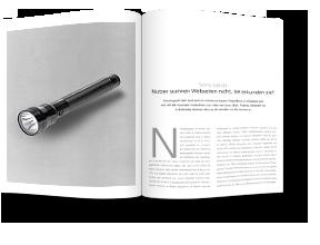 Zeitschrift mit abgebildeter Taschenlampe