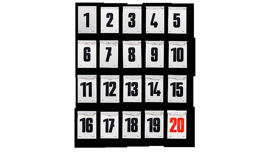20 Abreißkalender mit 19 schwarzen Zahlen und 1 roten 20