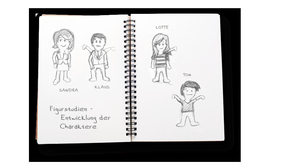 Figurstudien auf Papier - Entwicklung der Charaktere für den Film