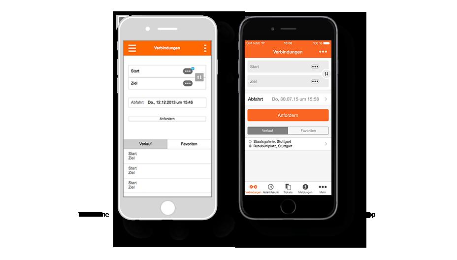 VVS App Fahrplanauskunft: Wireframe / VVS-App