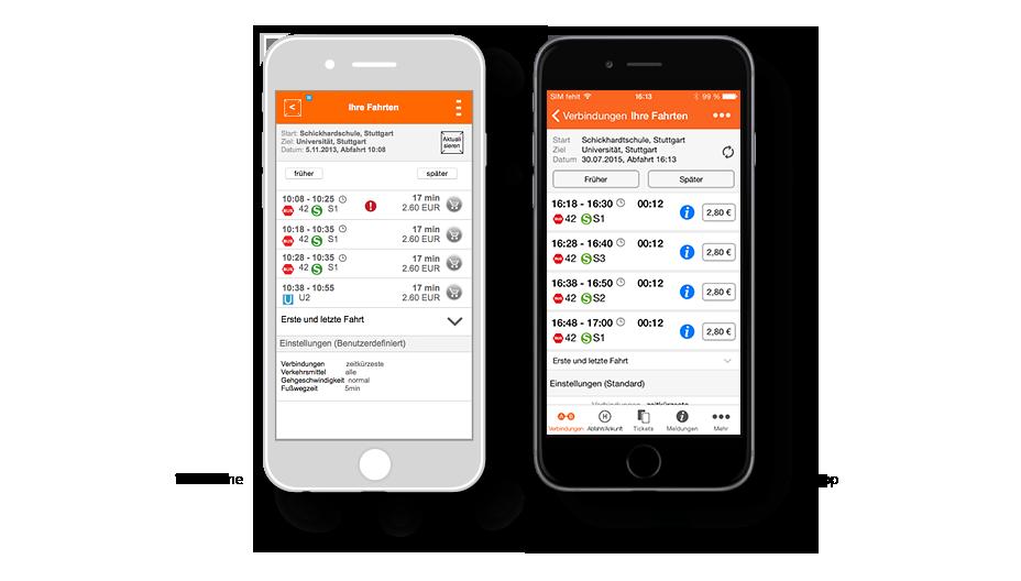 VVS App Verbindung: Wireframe / VVS-App