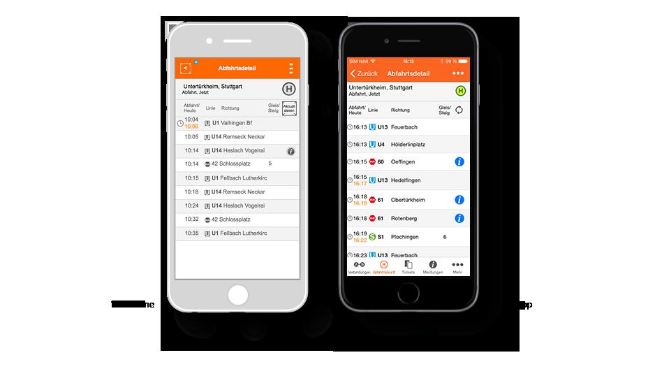 VVS App Abfahrtsdetail: Wireframe / VVS-App