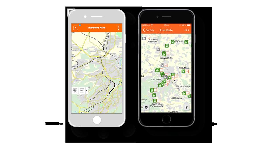VVS APP Live Karte: Wireframe / VVS App