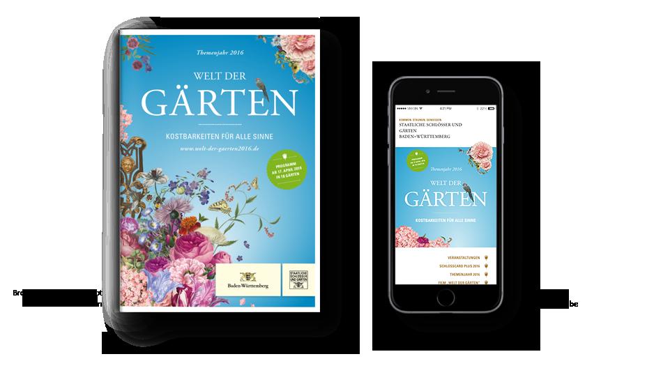 Welt der Gärten: Vergleich Print-Flyer mit Startseite Landingpage Mobil