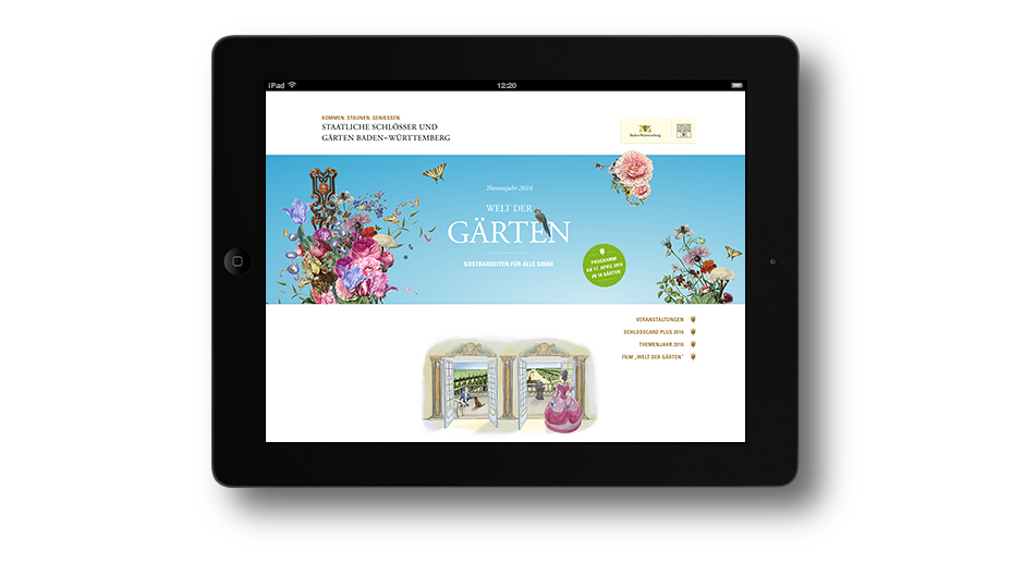 Welt der Gärten: SSG Landingpage Tablet Ansicht