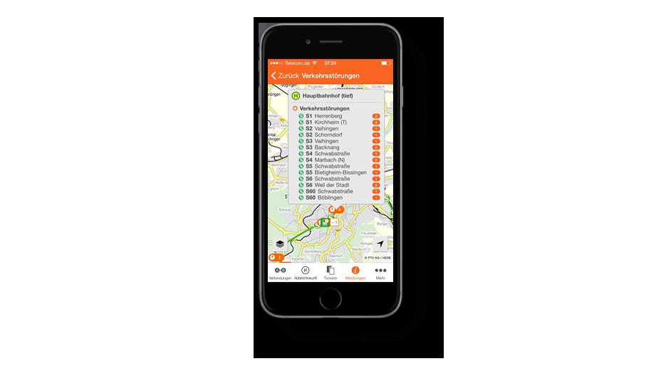 Fahrgastmeldungen in der VVS App