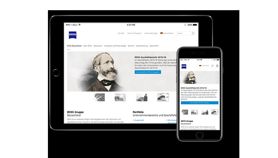 ZEISS mit responsiven Webseiten online